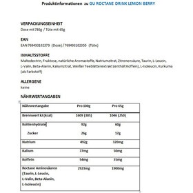 GU Energy Roctane Ultra Endurance Energy Drink Mix Dose 780g Lemon Berry